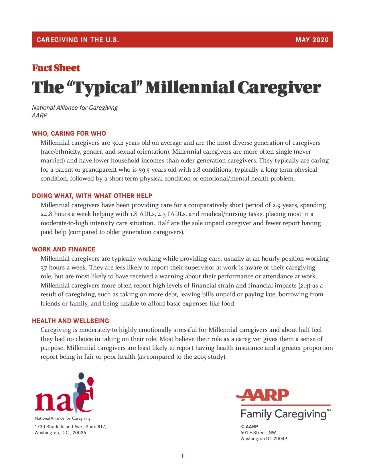Full Report Caregiving in the United States 2020 Cover Photo
