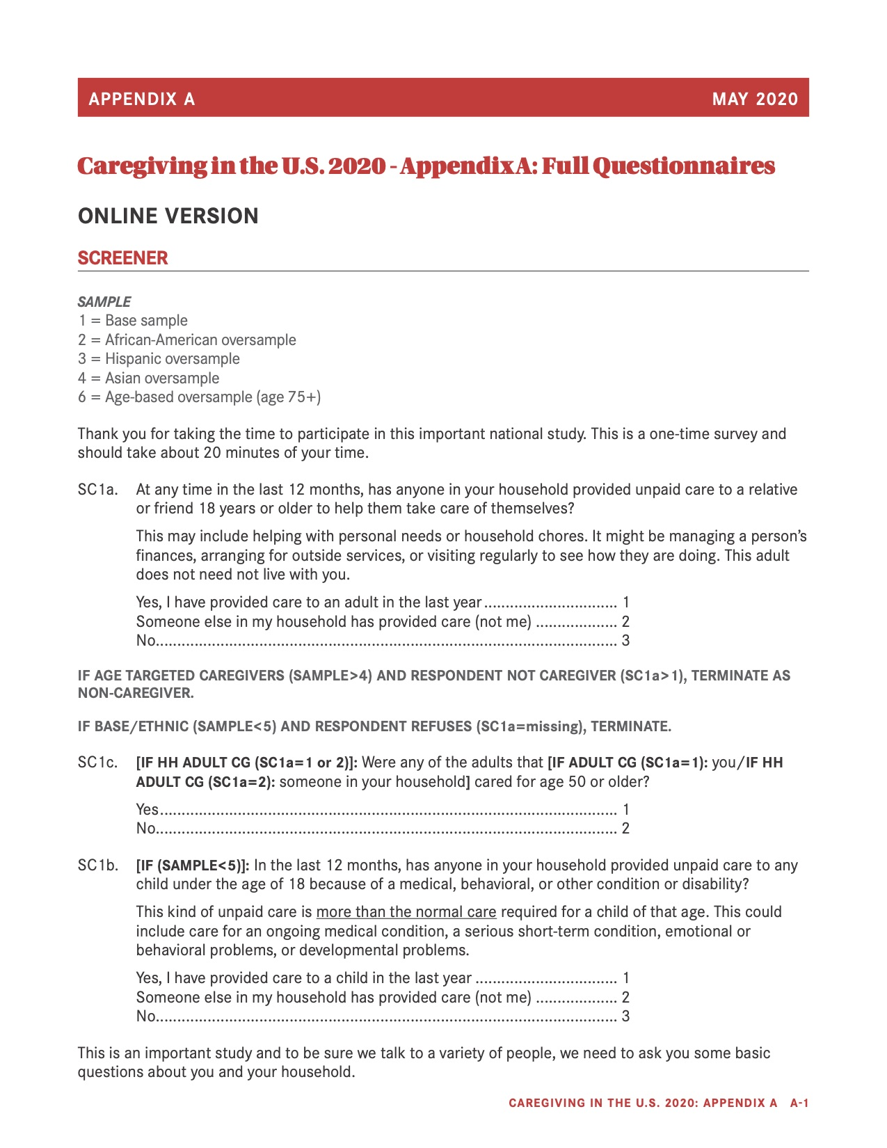 Appendix A Caregiving in the United States 2020 Cover Photo