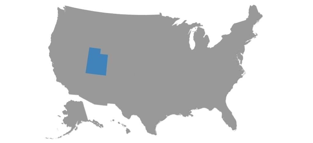 State of Utah Shown on Map of the US