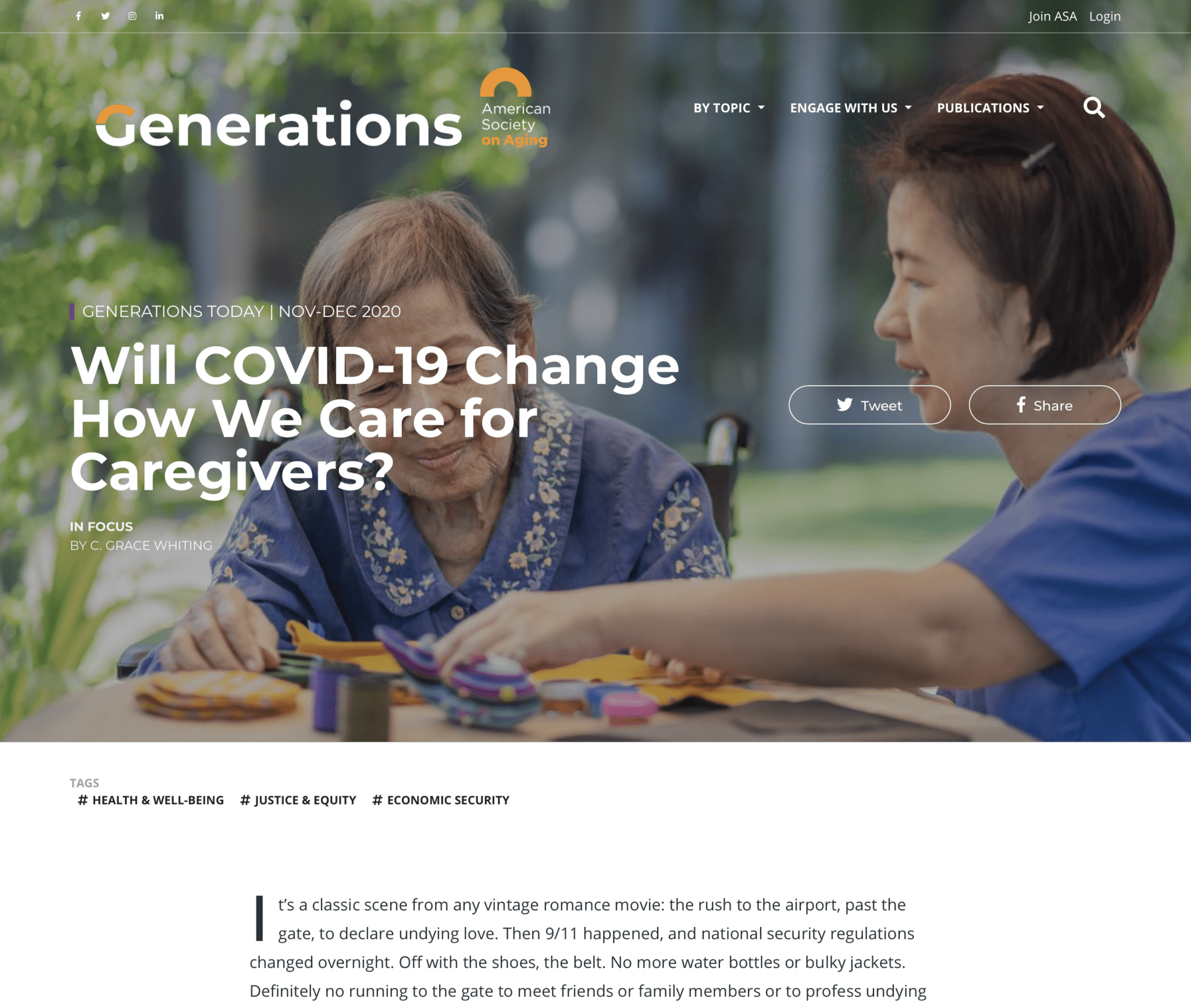 Generations | Will COVID-19 Change How We Care for Caregivers?