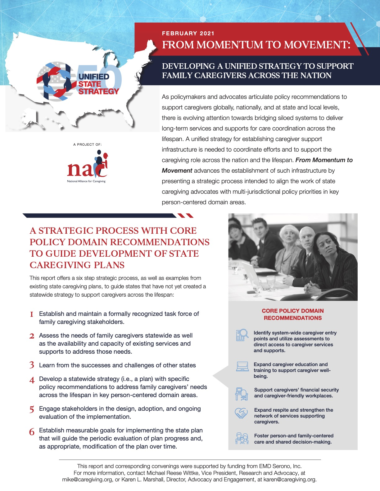 National Alliance for Caregiving Unified 50 State Strategy In a Nutshell